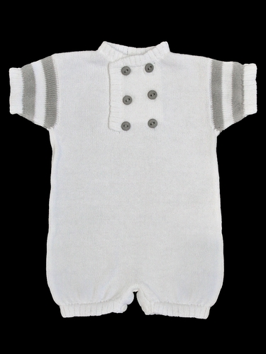 Baby�s Trousseau White & Grey Knit Double Button Romper