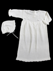 Baby's Trousseau White Knit Christening Gown w/ Bonnet