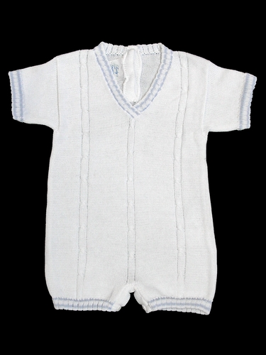 Baby's Trousseau White w/ Light Blue V-Neck with Detail Romper