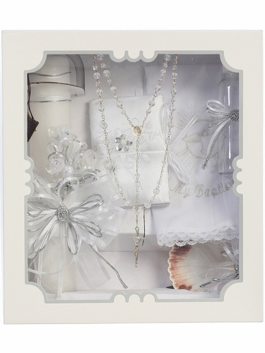 Baptism Candle Set w/ Crystal Beading Covered Book & Crystal Flowers
