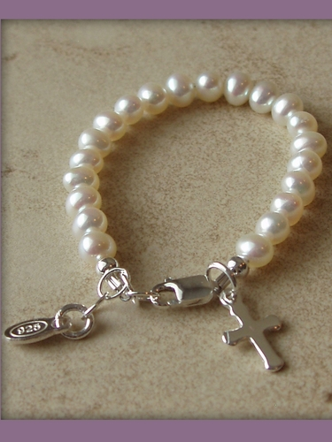 Baptism & Christening Infant Bracelet (Pearls w/Cross)
