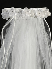 "Beaded Flowers w/ Rhinestone & 24"" White Communion Veil"