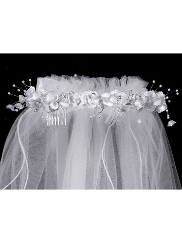 Beaded Roses Crown w/ Satin Bow Communion Veil