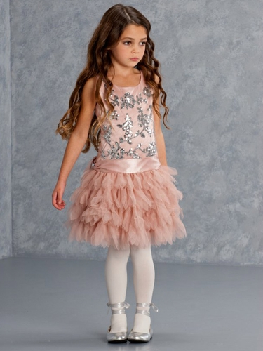 Biscotti Filigree Flutter Exquisite Coco Sequined Tulle Dress
