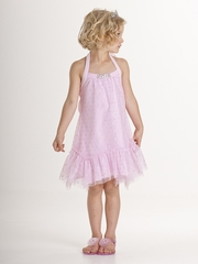 Biscotti Pink Tulle Dress w/ Silver Dots