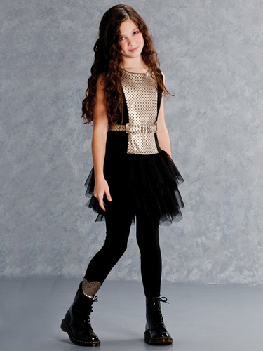 Biscotti Rockin Romance Black & Gold Tween Dress w/ Tulle Skirt
