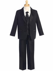 Black 5 Piece Two Button Tuxedo w/ Any Color Vest & Clip-On Necktie