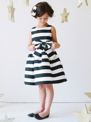 Black Bold Stripe Woven w/ Bow Dress