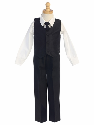 Black Boys Poly Silk Vest & Black Pant Set