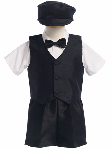 Black Boys Poly Silk Vest & Shorts w/Hat