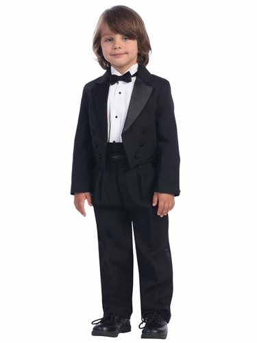 Black Boys Tuxedo w/Satin Cummerbund & Wrap-Around Botwie