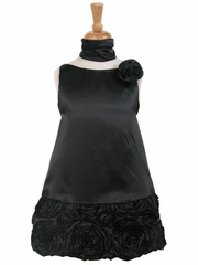 Black Charmeuse w/ Ribbon Embroidered Bottom and Pinned Flower