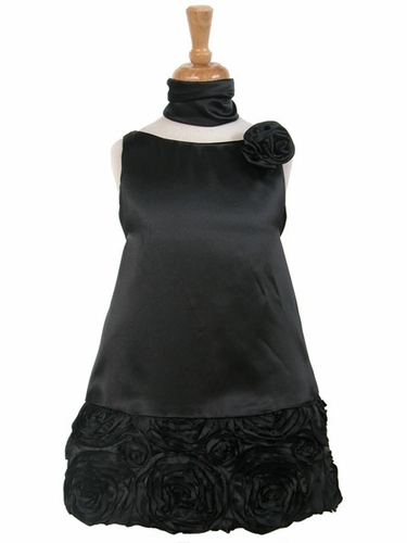 Black Charmeuse w/Ribbon Embroidered Bottom and Pinned Flower