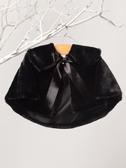 Black Faux Fur Collared Cape w/ Ribbon Tie