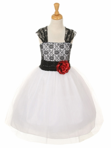 Black Floral Lace Dress w/ Cross Back & Tulle Skirt