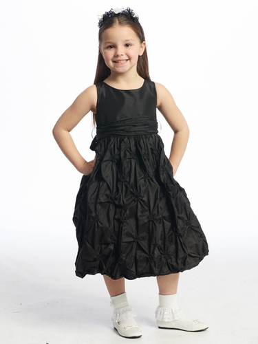 Black Flower Girl Dress - Gathered Taffeta