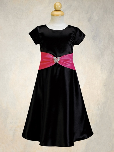Black Flower Girl Dress - Satin A-Line Dress