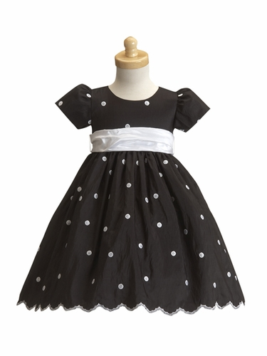 Black Flower Girl Dress - Taffeta Polka Dot Dress