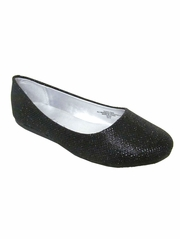Black Glitter Flat Shoes