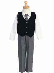 Black/Gray Velvet Vest w/Pants