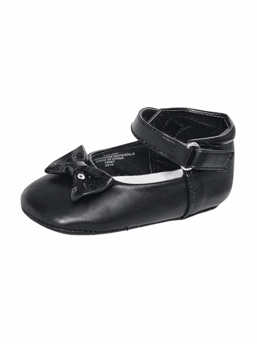 Black Infant Girls Bow Detailed Dress Shoes