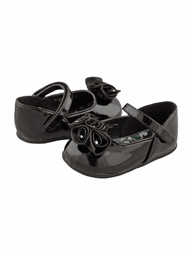 Black Infant Shoes with Satin Flowers