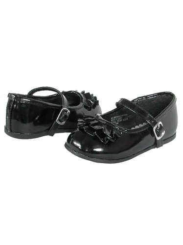 Black Josmo First Walker Top Ruffle Buckle Shoes