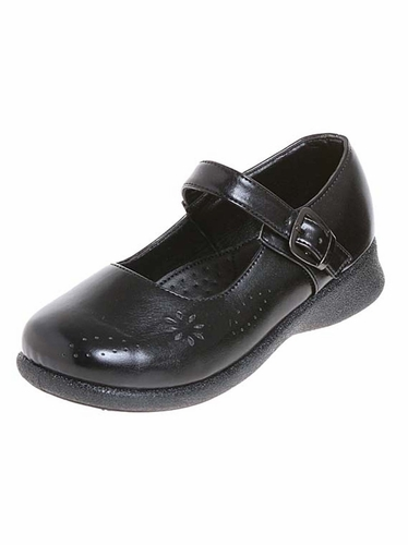 Black Josmo Mary Jane Buckle School Shoes