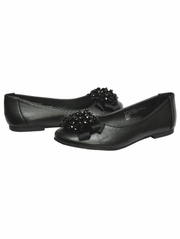 CLEARANCE: Black Kids Flats With Crystal Bead Bow