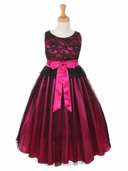 Black & Fuchsia Lace Bodice with Double Tulle over Charmeuse
