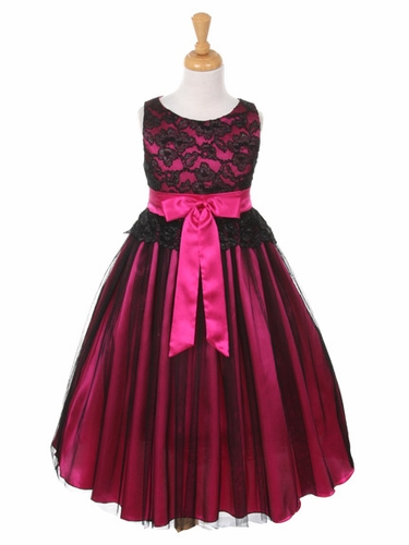 Black & Fuchsia Lace Bodice w/ Double Tulle Over Charmeuse