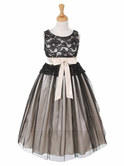 Black & Ivory Lace Bodice with Double Tulle over Charmeuse