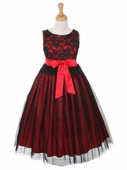 Black & Red Lace Bodice with Double Tulle over Charmeuse