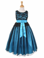 Black & Turquoise Lace Bodice with Double Tulle over Charmeuse