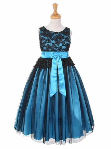 Black & Turquoise Lace Bodice w/ Double Tulle Over Charmeuse