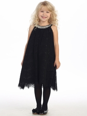 Black Lace Dress w/ Jeweled Neckline