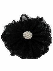 Black Lace Flower Clip