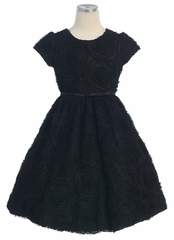 Black Large Flower Embroidered Mesh Dress w/ Dainty Ribbon