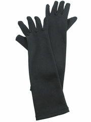 Black Long Satin Gloves