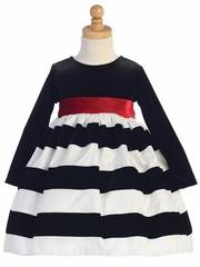 Black Long Sleeve Velvet Bodice w/ White & Black Striped Skirt Dress