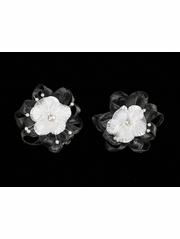 Black Organza Flower Hair Clip w/ Stone