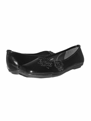 Black Patent Flower Ballerina Girls (Youth) Shoe
