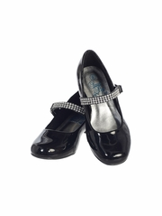 Black Patent Girls Low Heel Dress Shoe with Rhinestone Strap