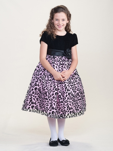Black & Pink Holiday Dress w/ Velvet Bodice & Cheetah Overlay Skirt