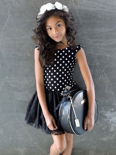 Black Polka-Dot Dress w/ Lace Skirt & Rhinestone Brooch