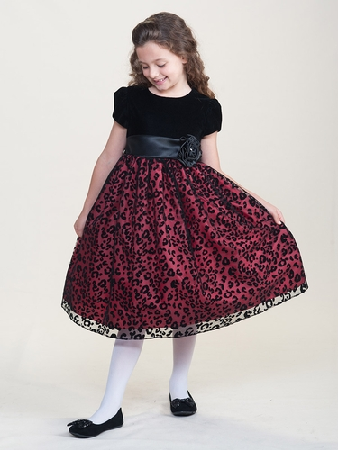 Black & Red Holiday Dress w/ Velvet Bodice & Cheetah Overlay Skirt