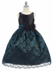 Black Satin Bodice w/ Teal Lace Overlay Skirt