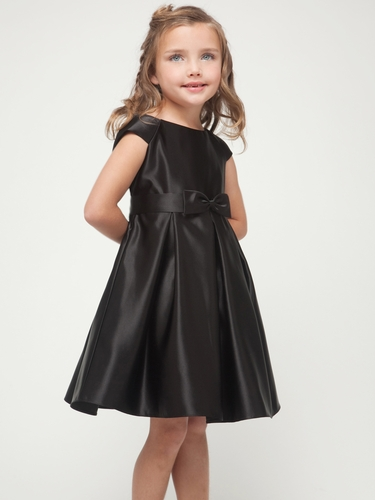Black Satin Cap Sleeve Dress w/Bow