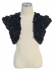 Black Satin Ribbon Embroidered Bolero