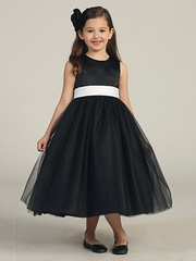 Black Satin Tulle Dress w/ Removable Sash
